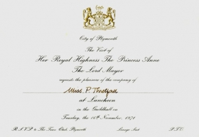 Royal invitation for the opening of the Plymouth mural