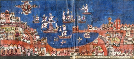 Original drawing for the Spanish Fleet off Cadiz mural