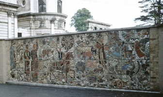 North London Collegiate School is housed in the gracious buildings of Canon's Park.  This photo shows the whole mural in position against the background of the 18th century house.