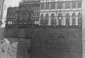 In the early days we made our murals on the ground, with hessian between the raw clay and the cement floor surface.  Here the cathedral at the lower right is only drawn on the surface whilst in other areas the clay has been modelled and textured.