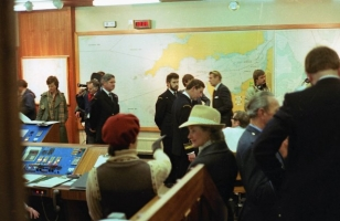 The new coastguards station in Falmouth is opened by a much younger Prince Charles seen in the centre of the picture.