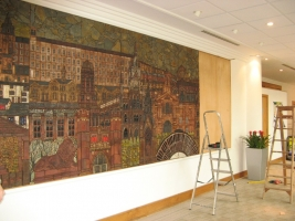 Mural in the process of being re-sited in current office. Image © Paul Horsfield