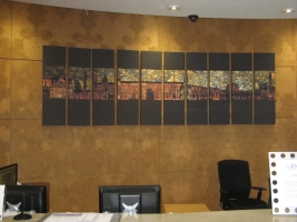 Digital images printed on canvas of a section of the mural behind the reception desk. Image © Paul Horsfield
