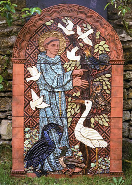 Mural modelled in terracotta with glazes and gold lustre