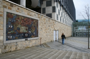 The mural in its new site outside the Drake's Circus shopping mall in Exeter.