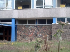 This picture taken in 2009 shows the mural on the derelict school. Luckily it was saved for its future location in a small park. Photo provided by Andrew Welch.