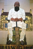 W. G. Grace on the floor of our workshop before going on the wall of the shopping centre.