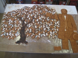 Tree and man at biscuit fired stage