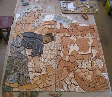 Panels one and two partly glazed