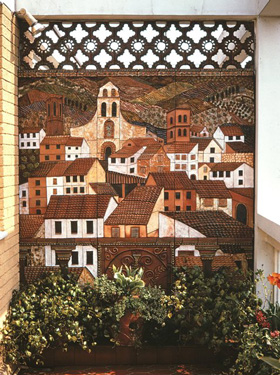 Mural depicting a small town in Provence